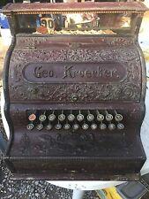 Antique Cast Iron National Cash Register Geo. Kroecker Candy Barber Coin Op