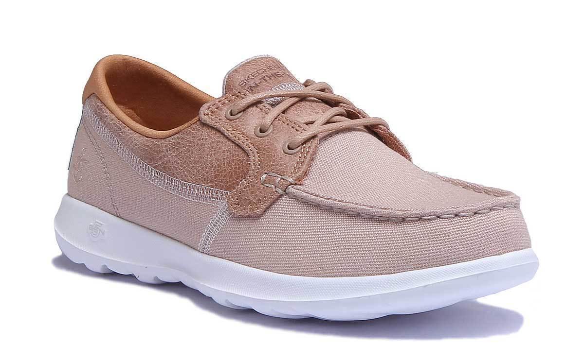 Skechers GoWalk Lite - Coral Damens Fabric Natural Boat Schuhes 8 Größe UK 3 - 8 Schuhes 513187