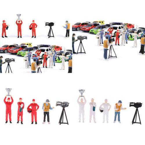 5pcs 1//64 Painted Race Car Driver /& Cameraman People Figures Model DIY Accs