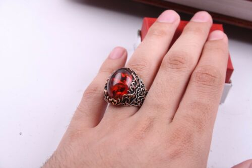 GORGEOUS Amber Stone Orange Turkish 925 sterling silver Mens Ring US ALL SİZE