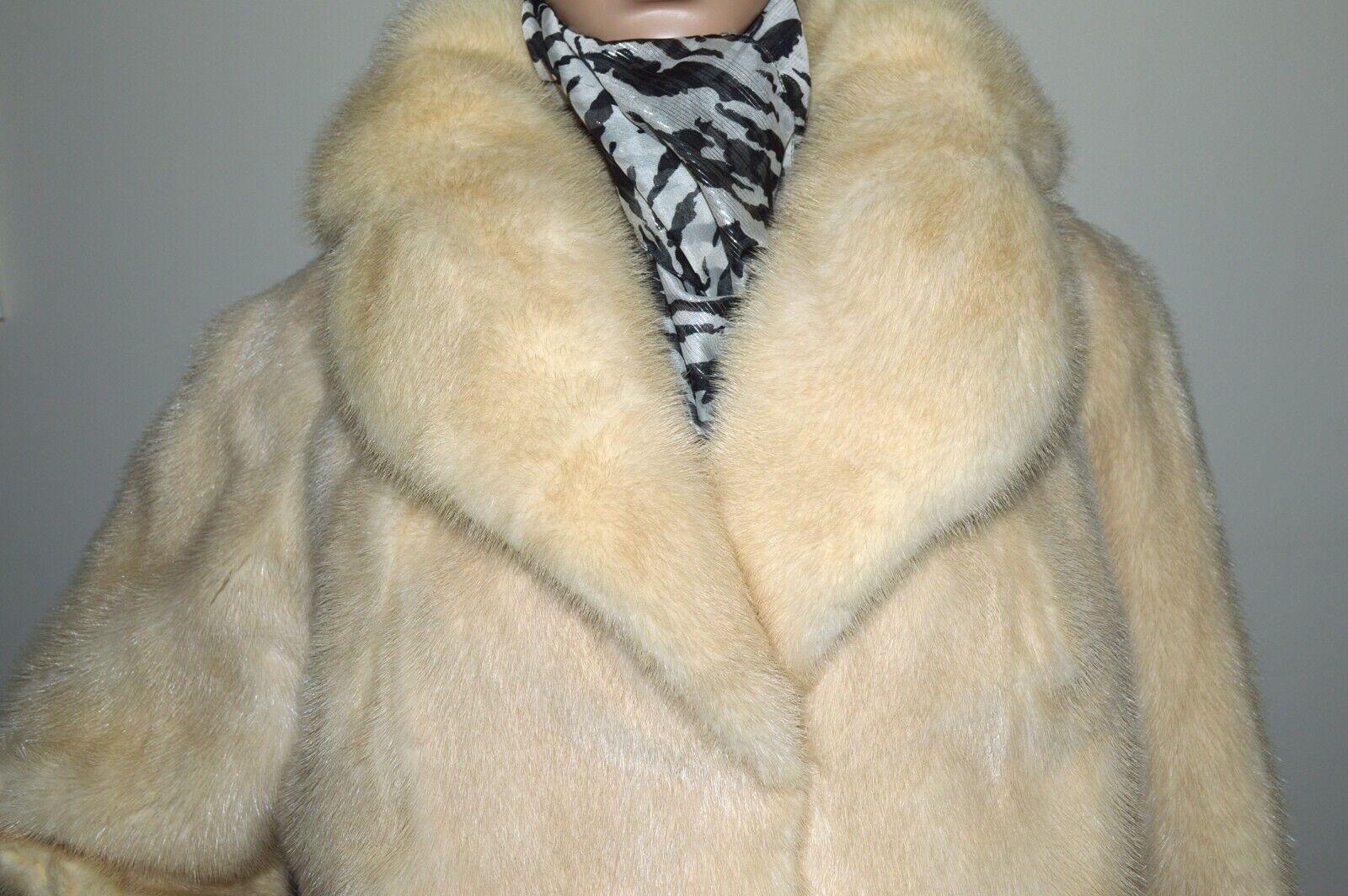 Vintage Women's Bensky Furs Cream Ivory Genuine Mink Coat Coat Coat M L Shawl Collar 550cd8
