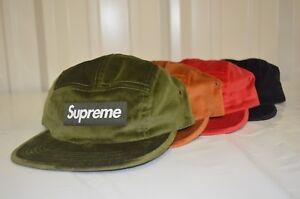 fb14e7d7a8d Image is loading SUPREME-Velvet-Camp-Cap-Black-Red-Brown-Olive-