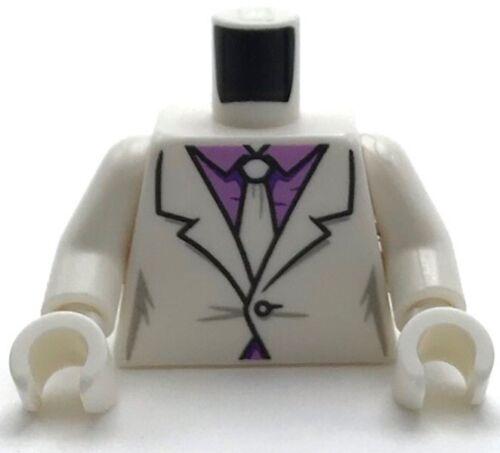 Lego New White Torso Suit Medium Lavender Shirt White Tie Pattern White Arms