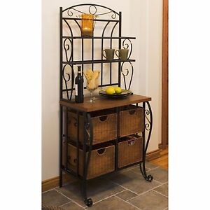 Image Is Loading NEW Iron Bakers Rack Wicker Baskets Pantry Storage