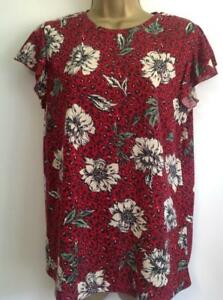 M-amp-S-COLLECTION-Floral-Animal-Print-Frill-Sleeve-T-Shirt-Red-Mix-BNWT-Size-10