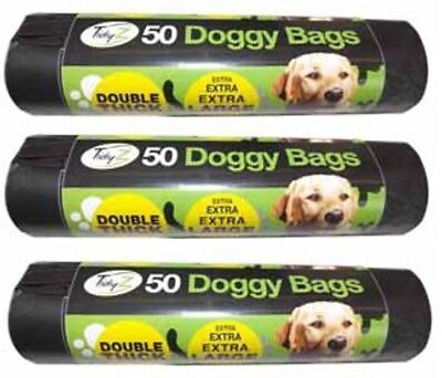 600x Extra Large Double Thick Strong Doggy Poo Poop Bags Tie Handles 38cm x 32cm