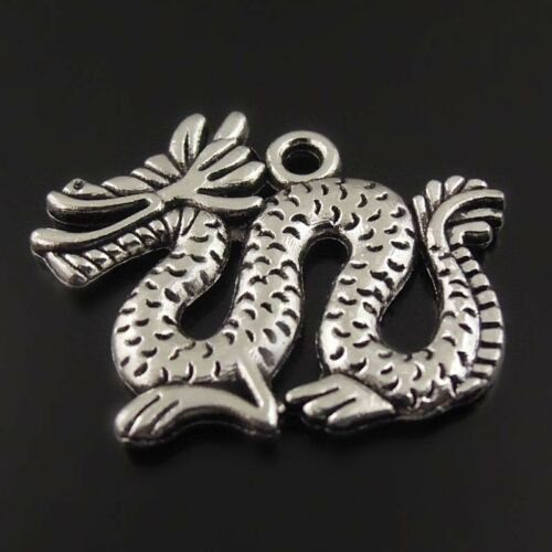 8PCS Antique Style Bronze Silver Gold Alloy Dragon Charm Pendant Craft Low Price