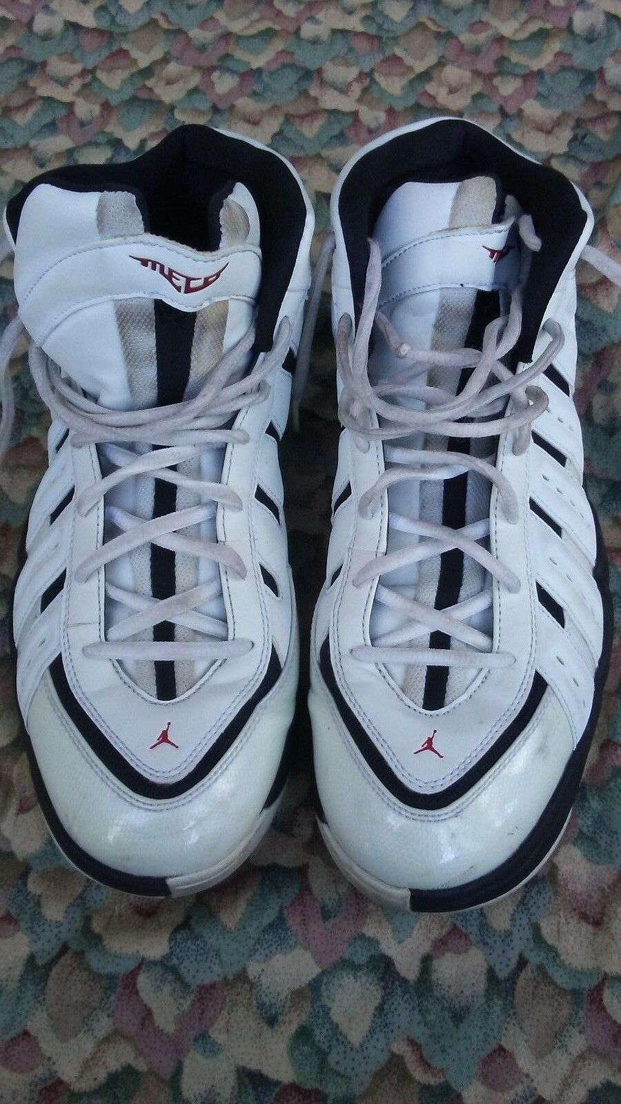 Jordan Melo M7  White Red Black Sneakers Shoes 414843-102 Size 12