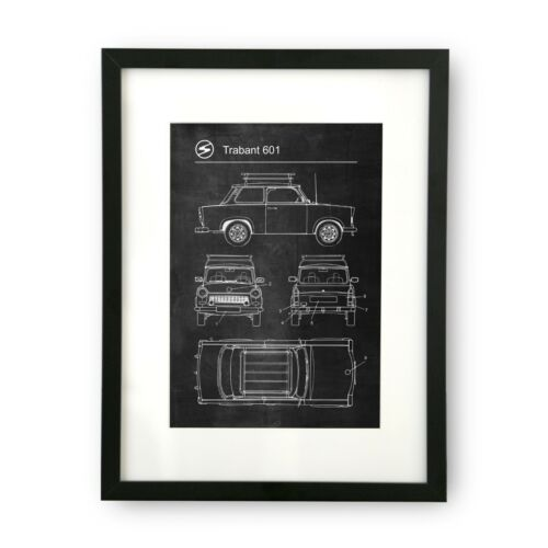 Trabant 601 Car Poster Retro Patent Blueprint