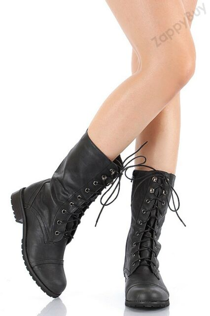 NEW Womens Boots Combat Military Lace Up with Zipper Fashion Boot Shoes Size