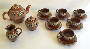 Bulgarian-Troyan-Redware-17-Piece-Pottery-Tea-Coffee-Set-in-Brown-Cream-Blue