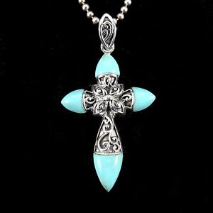 Handcrafted-Solid-925-Sterling-Silver-Genuine-TURQUOISE-Filigree-Cross-Pendant