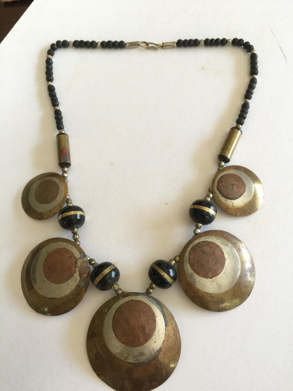 Vintage metal / Copper pieces statement Necklace w/ 52 (48+4) ebony wooden beads