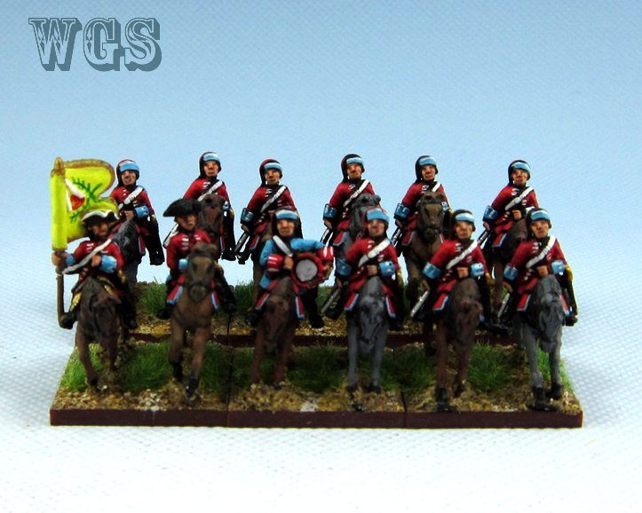 15mm SYW Seven Years War WGS painted French Dragoons in Bonnet (12 figures) FB6