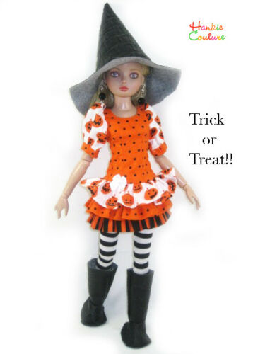 "HALLOWEEN DOLL DRESS BOOTS HAT FITS 16"" ELLOWYNE WILDE TONNER HANKIE COUTURE"