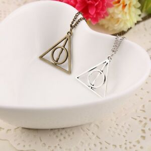 Harry-Potter-Deathly-Hallows-Triangle-Metal-Chain-Pendant-Necklace-Silver-Plated