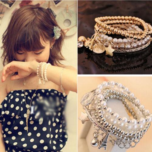 F76C Lady Jewelry Bracelet Fashion Pearl Multilayer 1set//6pcs Gifts Beauty Women