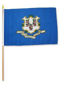 12x18 30.5cmx45.7cm State Of Connecticut Bâton Drapeau Bois Personnel Complet Dans Les SpéCifications
