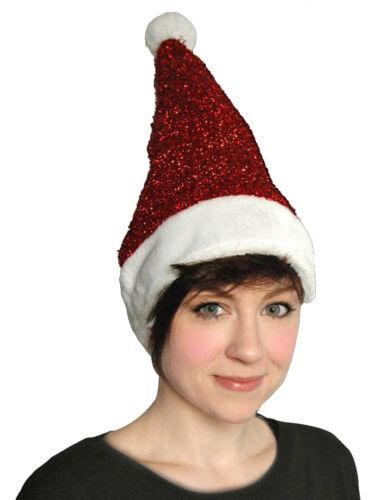 Le donne Natale Sparkle Lurex CAPPELLO ROSSO BABBO NATALE GLITTER pon pon regalo festa