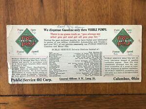 1920's Public Service Oil \ gasoline ink blotter - Columbus, Ohio