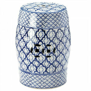 Image Is Loading Blue White Moroccan Tile Print Ceramic Stool End