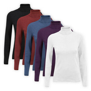 Womens-Ladies-High-Roll-Polo-Neck-Top-Stretch-Cotton-Blend-Casual-T-Shirt-Jumper