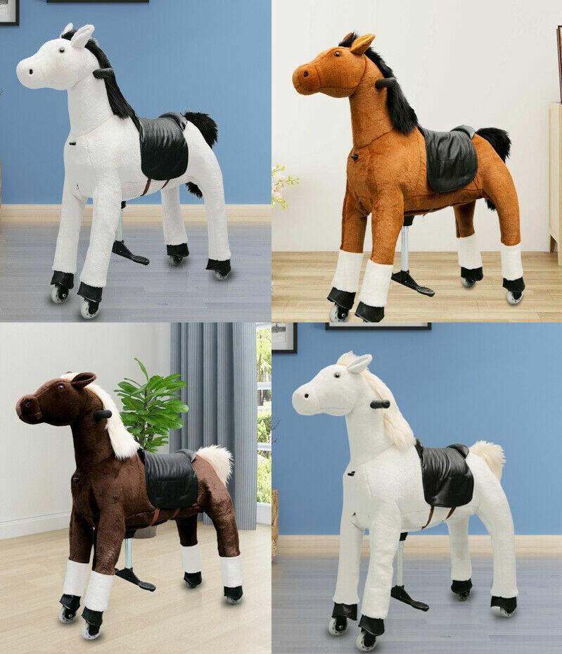 Plüschpferd Reitpony auf  Rollen  Rollpferd fahrendes Pony Medium 5-8 Jahre 70cm