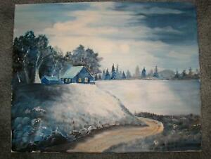 FOLK ART AMERICANA LANDSCAPE HOUSE ON HILL LAKE BLUE COLORS TREES OIL PAINTING