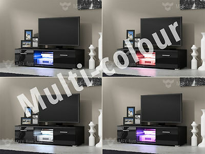 Modern TV Unit, TV Cabinet, 120cm, Black body & Black High Gloss fronts, LED RGB