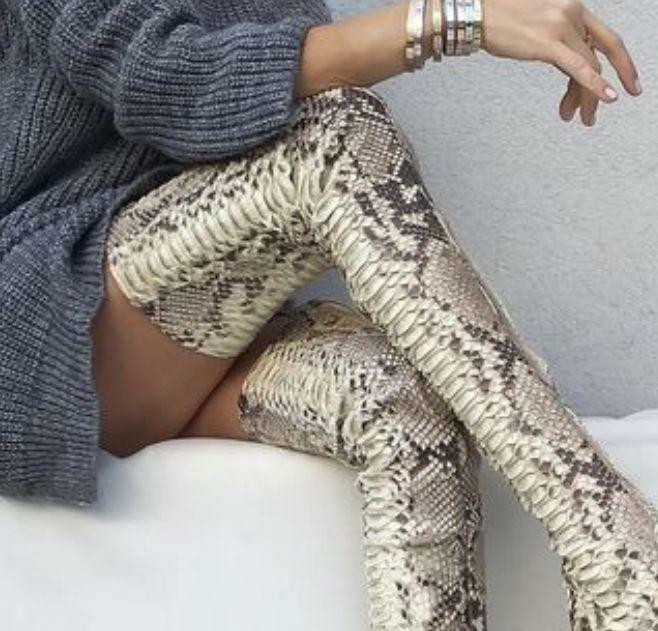 snake skin over knee high boots New Women Stiletto Leather Thigh High Boot Shoes
