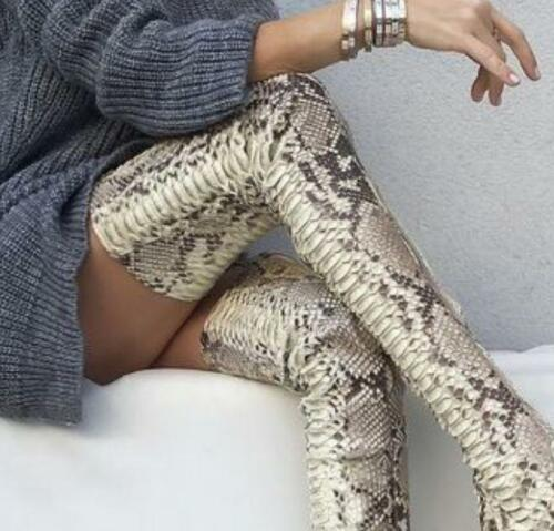 snake skin Print over knee Womens Stilettos Heels Leather Thigh High Boots Shoes
