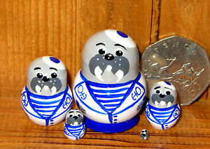 Genuine-Russian-5-TINY-Nesting-Doll-House-Walrus-Sailor-MINIATURE-BABUSHKA