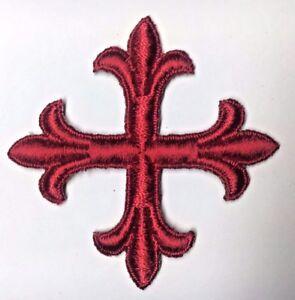 Vintage-Frances-Cruz-3-034-Bordado-para-Coser-Real-Rojo-C119-Emblema-Parche-2PC