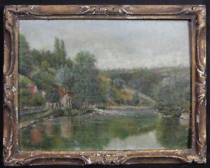 Il-Moulin-Pino-Olio-su-Cartone-Firmato-Beaumont-Piede-De-Boeuf-Mayenne