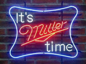 """17""""x14"""" It's Miller Time Miller Lite Beer Real Glass Neon Sign Fast Ship"""