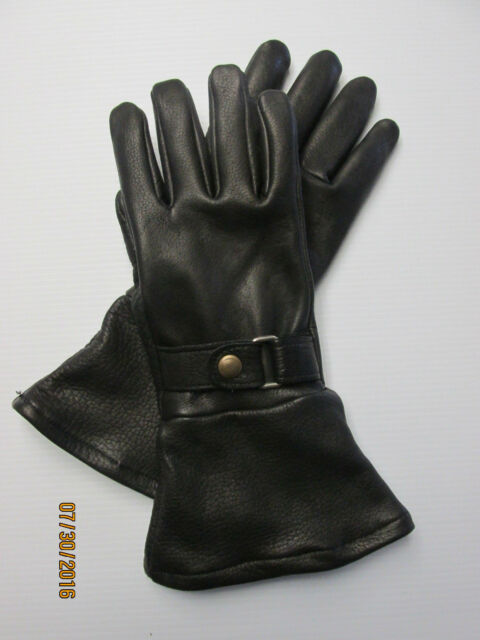 MEN'S BLACK BISON LEATHER SHORT CUFF LINED GAUNTLET GLOVES  - MADE IN THE USA