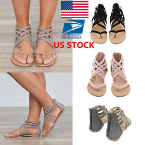 60ca9c8e2d7871 Image is loading Women-Gladiator-Strappy-Flats-Sandals-Flip-Flops-Thong-
