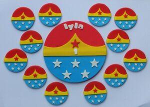 Edible Super Hero Kit Wonder Woman Cake Topper Cupcake Decorations