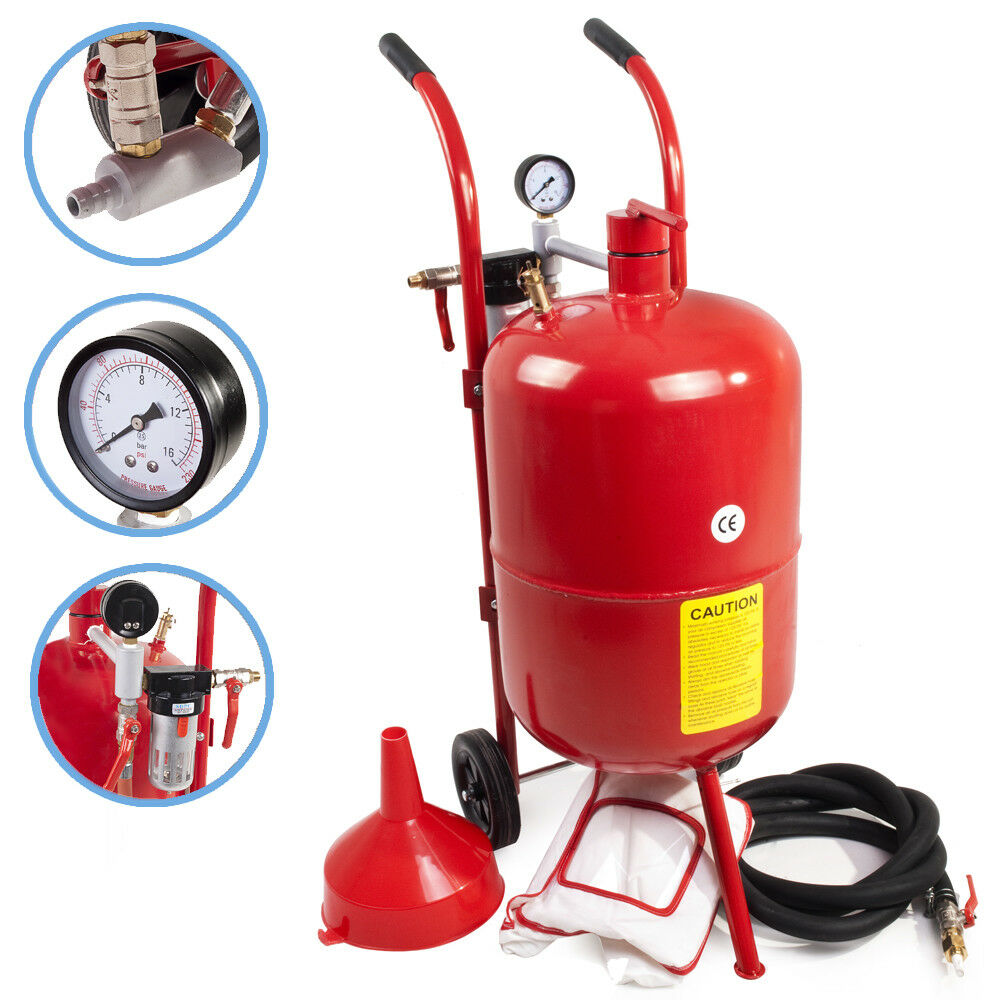 10 GALLON 37 LITRI PORTATILE GARAGE WORKSHOP SABBIA PERLINA GRANA POT BLASTING