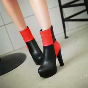 Women-039-s-Block-High-Heels-Round-Toe-Platform-Ankle-Boots-Stitching-Color-Shoes
