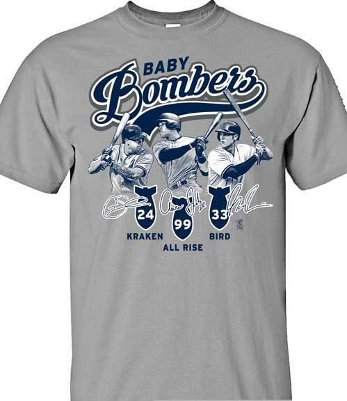 New York Yankees MLBPA Baby Bombers Men's Crew Neck Tee Shirt, Gray