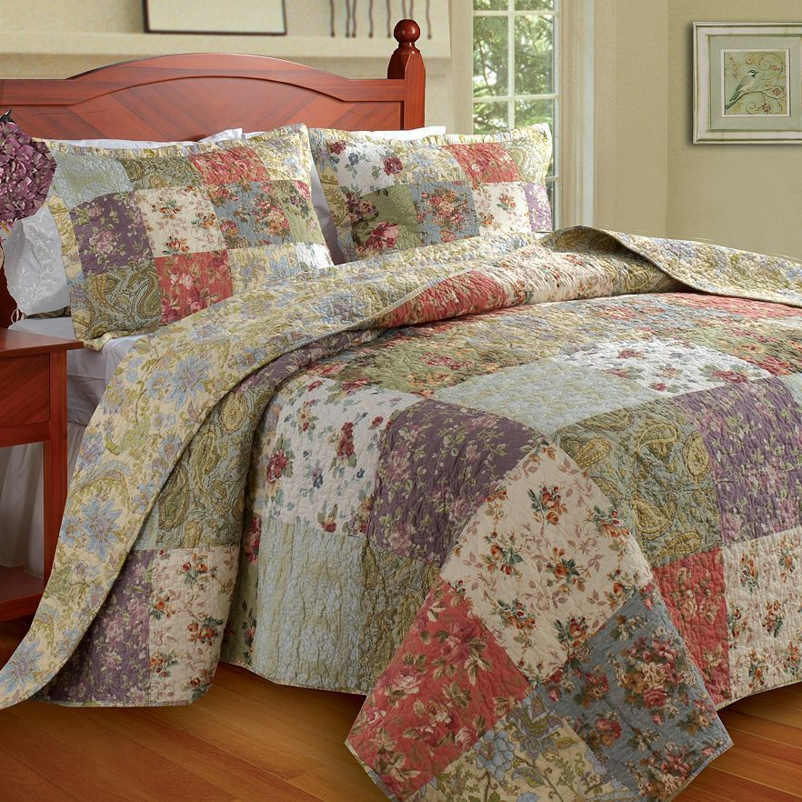 BEAUTIFUL XX LARGE SAGE GREEN blueE pink IVORY PATCHWORK BEDSPREAD QUILT SET KING
