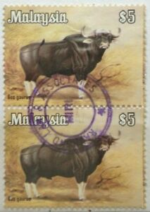 Malaysia Used Stamps - Strip of 2 pcs 1979 $5 Animals Definitive Stamp - Cattle