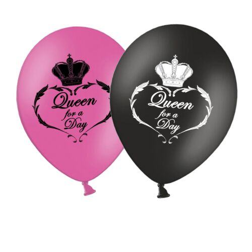 "Mothers Day Queen for a Day 12/"" Printed Latex Balloons Pack of 6 Assorted"