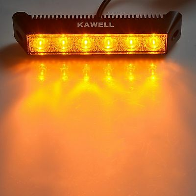 "KAWELL 18W 7.5"" 1200LM 60 Degree LED  Flood Beam Amber Light for Boat Waterproof"