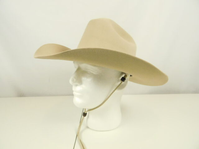 62dbeed1a8b Stetson Cowboy Felt Hat 56 7 Medium 4 Inch Brim Ranch Tan SF0575D40 Chin  strap