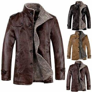 Piel-De-Cordero-De-Invierno-De-Hombre-Cuero-Chaqueta-Abrigo-Con-Cremallera-Forro-calido-abrigo
