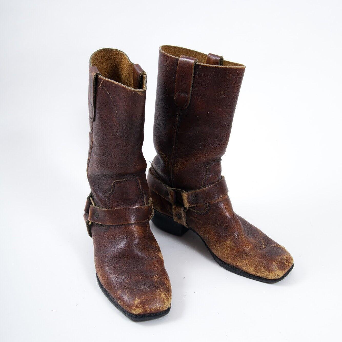 "Vtg Biker Boots Leather Half Calf Square Toe Brown 1.5"" Heel women's 7.5"