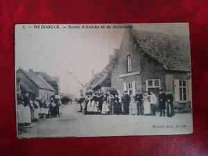 Rare-CPA-animee-Rubrouck-Nord-Route-d-039-Arneke-et-de-Bollezeele-Villageois