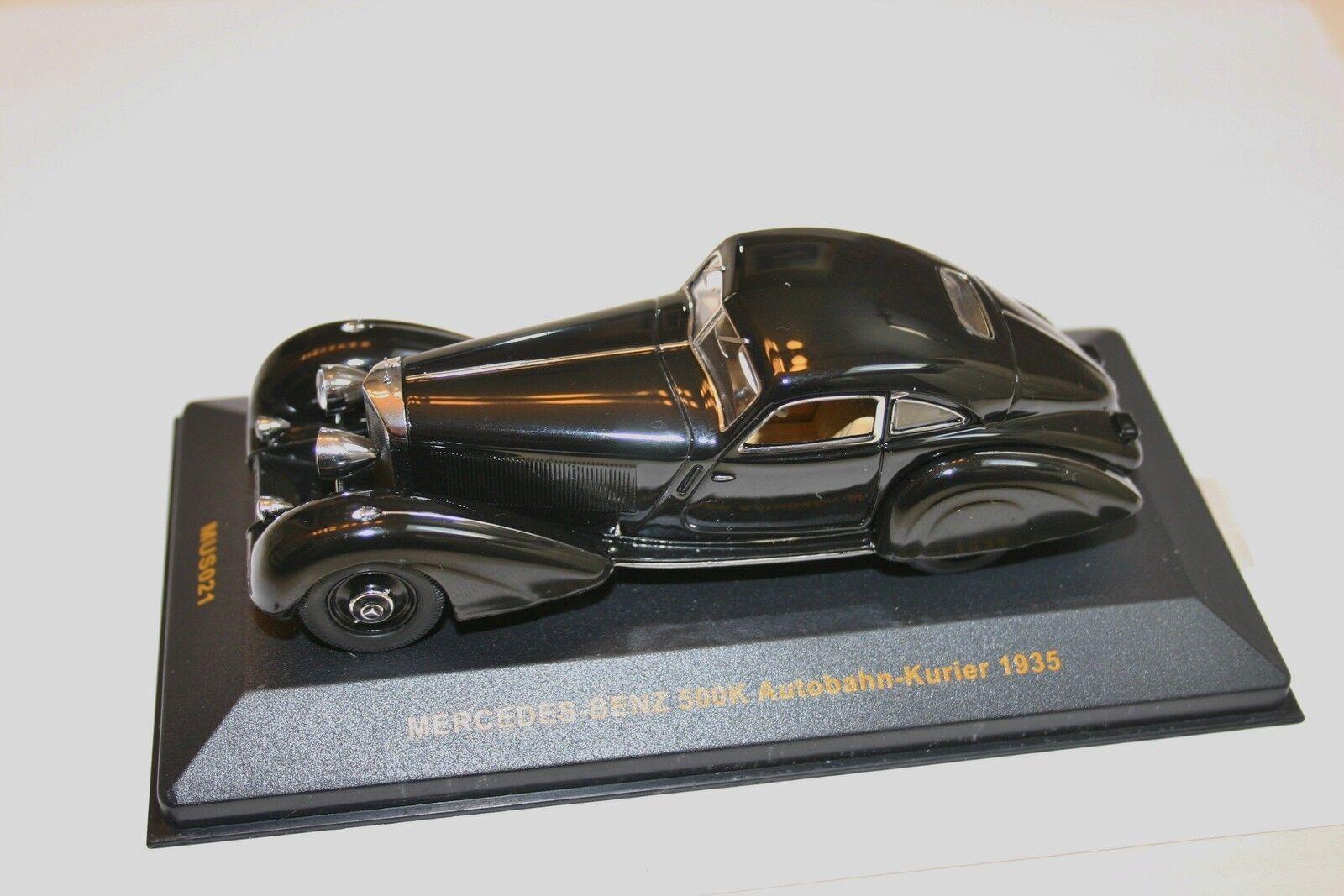 1/43 Mercedes Benz 500k autobahn-kurier 2018 Negro Coupe Raro Ixo Museum Sin Caja